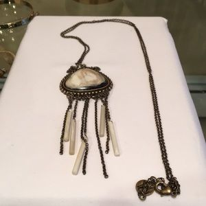 Gold tone long necklace